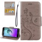 For Galaxy A5(2017) Grey Embossing Leather Case with Holder, Card Slots & Wallet