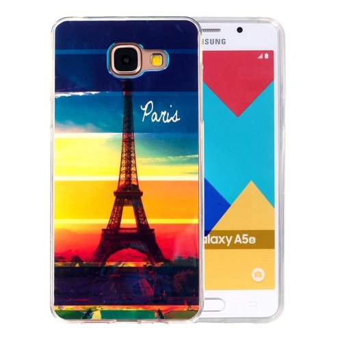 For Galaxy A5(2016) Eiffel Tower Pattern Blu-ray Soft TPU Protective Case
