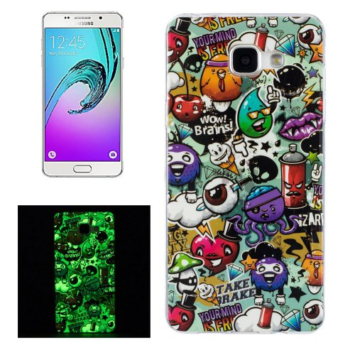 For Galaxy A5(2016) Noctilucent Rubbish Pattern IMD Soft TPU Back Cover Case