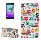 For Galaxy A5(2017) Heads Owls Pattern Leather Case with Holder, Card Slots & Wallet
