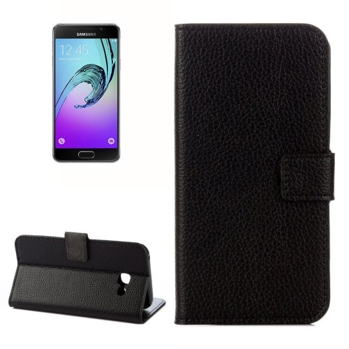 For Galaxy A5(2017) Black Litchi Leather Case with Holder, Card Slots & Wallet