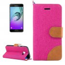 For Galaxy A5(2017) Magenta Denim Flip Leather Case with Holder & Card Slots