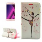 For Galaxy A5(2017) Dancing Girl Leather Case with Holder, Card Slots & Wallet