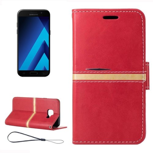 For Galaxy A5(2017) Red Crazy Horse Leather Case with Holder, Card Slots & Wallet