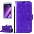 For Galaxy A5(2017) Purple Crazy Horse Leather Case with Holder, Card Slots & Wallet