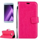 For Galaxy A5(2017) Magenta Crazy Horse Leather Case with Holder, Card Slots & Wallet