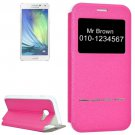 For Galaxy A5(2017) Magenta Frosted Texture Flip Leather Case with Call Display ID & Holder