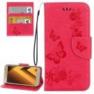 For Galaxy A5(2017) Red Embossing Leather Case with Holder, Card Slots & Wallet