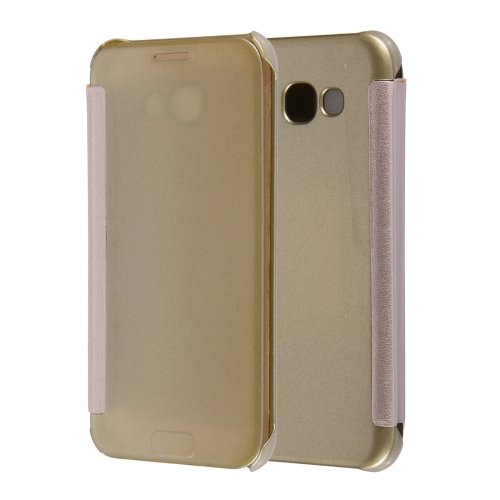 For Galaxy A5(2017) Gold Flip Leather Case with Sleep / Wake-up Function