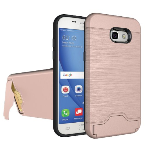 For Galaxy A5(2017) Rose Brushed Separable PC + TPU Case with Holder & Card Slots