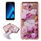 For Galaxy A5(2017) Purple Roses Pattern Electroplating Frame Soft TPU Case