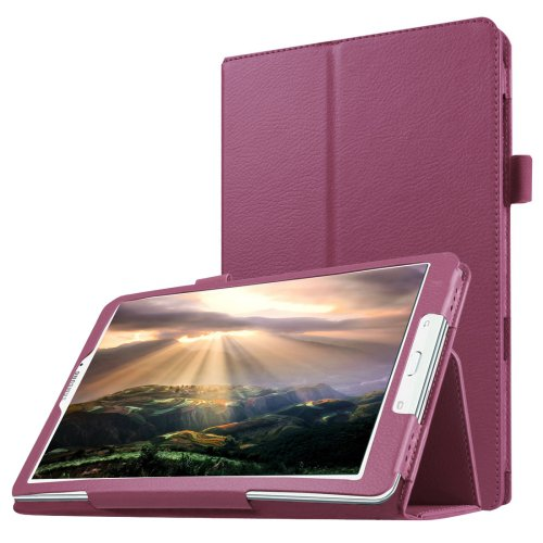 For Galaxy Tab E 8.0 Purple Litchi Texture Flip Solid Color Leather Case with Holder