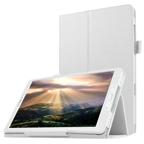 For Galaxy Tab E 8.0 White Litchi Texture Flip Solid Color Leather Case with Holder