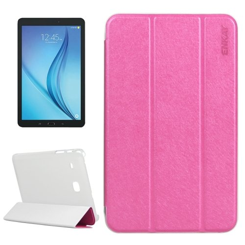 For Galaxy Tab E 8.0 Magenta ENKAY Silk Case with Frosted Plastic Back Shell & 3 Fold Holder
