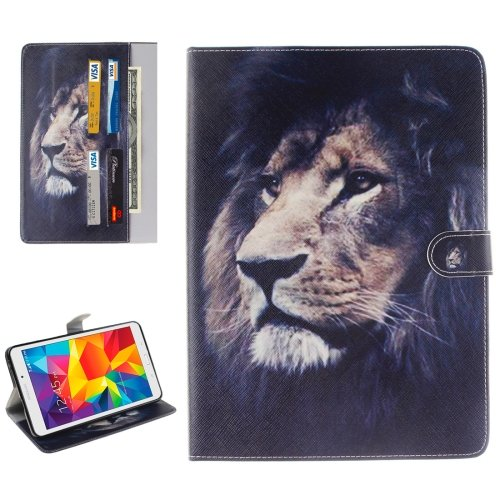 For Galaxy Tab E 8.0 Lion Pattern Flip Leather Case with Holder & Card Slots & Wallet