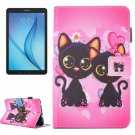For Galaxy Tab E 8.0 Cat Pattern Flip Leather Case with Holder & Card/Pen Slots