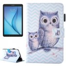 For Galaxy Tab E 8.0 Wave Owl Pattern Flip Leather Case with Holder & Card/Pen Slots