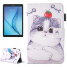 For Galaxy Tab E 8.0 Tomato Cat Pattern Flip Leather Case with Holder & Card/Pen Slots