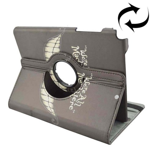 For Galaxy Tab A 9.7 Grin Pattern Flip Leather Case with Rotating Holder