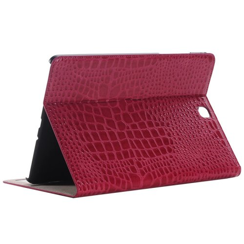 For Galaxy Tab A 9.7 Magenta Crocodile Flip Leather Case with Holder, Card Slots & Wallet