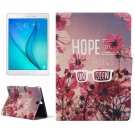 For Galaxy Tab A 9.7 Flowers Pattern Horizontal Flip Leather Case with Holder