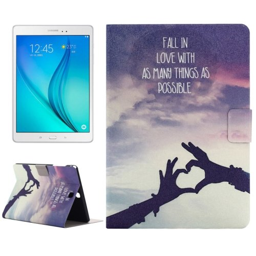 For Galaxy Tab A 9.7 Love Pattern Horizontal Flip Leather Case with Holder