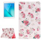 For Galaxy Tab A 9.7 Rose Pattern Horizontal Flip Leather Case with Holder