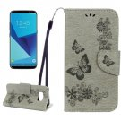 For Galaxy S8 Grey Butterflies Flip Leather Case with Holder, Card Slots & Wallet