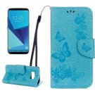 For Galaxy S8 Blue Butterflies Flip Leather Case with Holder, Card Slots & Wallet