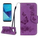 For Galaxy S8 Purple Butterflies Flip Leather Case with Holder, Card Slots & Wallet
