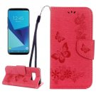For Galaxy S8 Red Butterflies Flip Leather Case with Holder, Card Slots & Wallet
