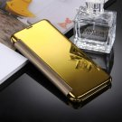 For Galaxy S8 Gold Electroplating Mirror Smart Cover Flip Leather Case