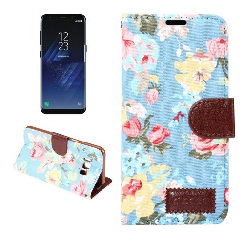 For Galaxy S8 Blue Cotton Texture Flip Leather Case with Holder & Card Slots