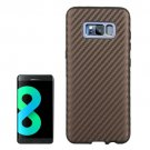 For Galaxy S8 Coffee Carbon Fibre Texture PU Leather Back Cover Case