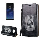 For Galaxy S8 3D Poker Magnetic Adsorption Leather Case with Holder & Card Slots