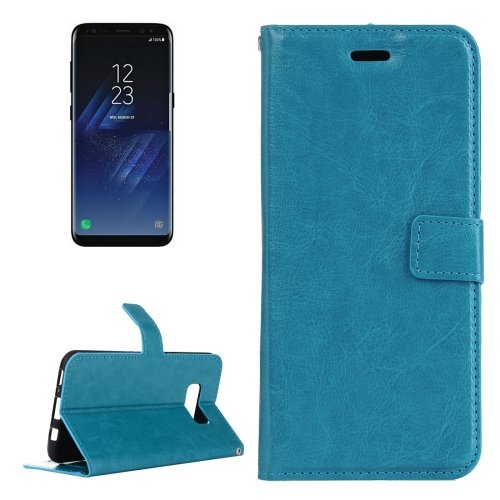 For Galaxy S8 Blue Retro Crazy Horse Leather Case with Holder, Card Slots & Wallet