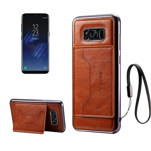 For Galaxy S8 Brown Cortex Leather Case with Card Slots, Holder & Lanyard