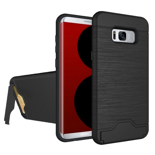For Galaxy S8 Black Brushed Separable PC + TPU Case with Holder & Card Slot