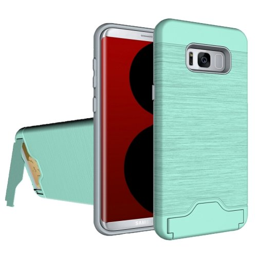 For Galaxy S8 Green Brushed Separable PC + TPU Case with Holder & Card Slot