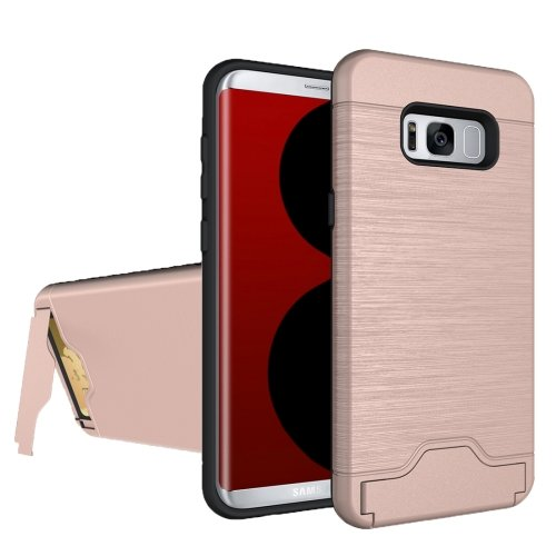 For Galaxy S8 Rose Gold Brushed Separable PC + TPU Case with Holder & Card Slot