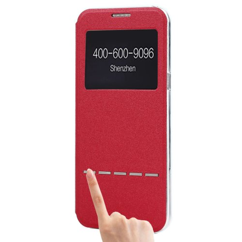 For Galaxy S8+ Red Frosted Leather Case with Call Display ID ,SlideUnlock Slip & Holder