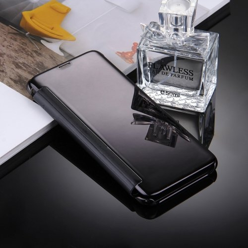 For Galaxy S8+ Black Electroplating Mirror Smart Cover Flip Leather Case
