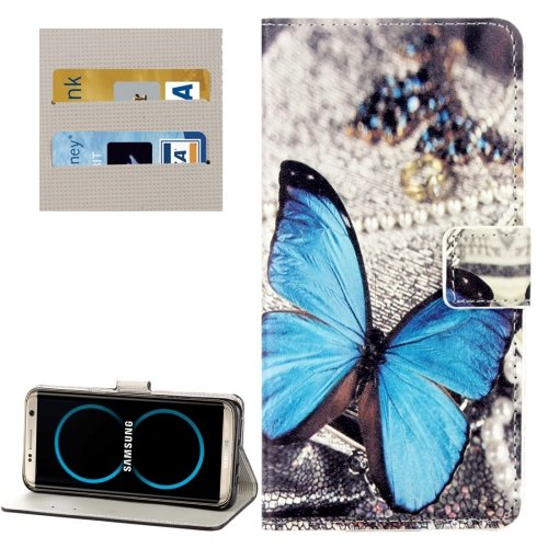 For Galaxy S8+ Butterfly Pattern Flip Leather Case with Holder, Card Slots & Wallet