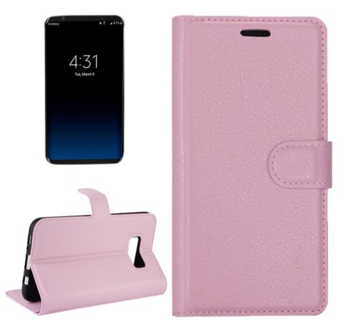 For Galaxy S8+ Pink Litchi Magnetic Leather Case with Holder, Card Slots & Wallet