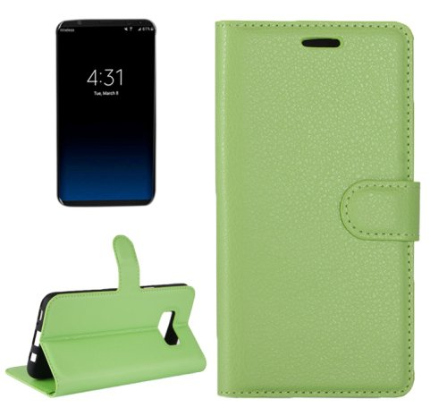 For Galaxy S8+ Green Litchi Magnetic Leather Case with Holder, Card Slots & Wallet