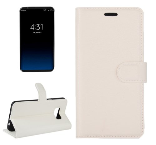For Galaxy S8+ White Litchi Magnetic Leather Case with Holder, Card Slots & Wallet