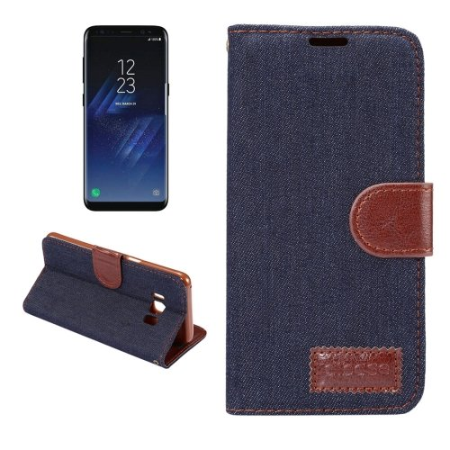 For Galaxy S8+ Black Denim Texture Leather Case with Holder, Card Slots & Wallet
