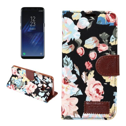 For Galaxy S8+ Black Cotton Texture Leather Case with Holder, Card Slots & Wallet