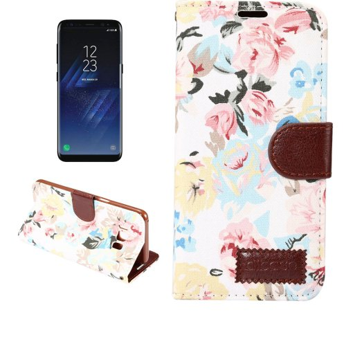 For Galaxy S8+ White Cotton Texture Leather Case with Holder, Card Slots & Wallet
