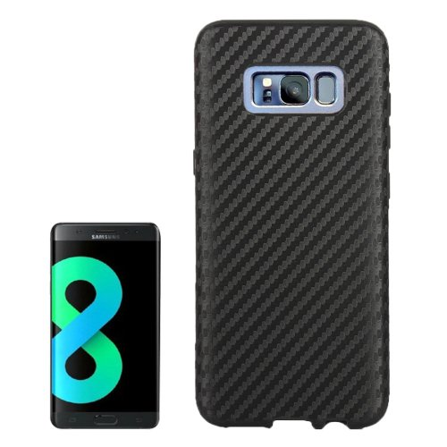 For Galaxy S8+ Black Carbon Fibre Texture PU Leather Protection Back Cover Case